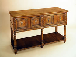 093 Open Low Dresser with Carved Drawers